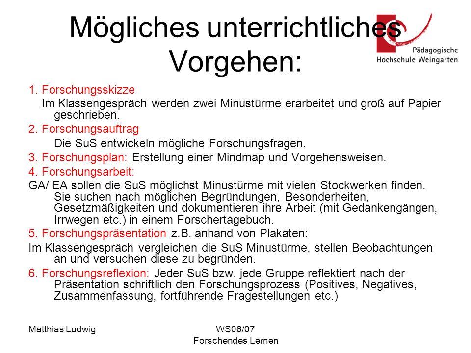 Matthias LudwigWS06/07 Forschendes Lernen Mögliches unterrichtliches Vorgehen: 1. Forschungsskizze Im Klassengespräch werden zwei Minustürme erarbeite
