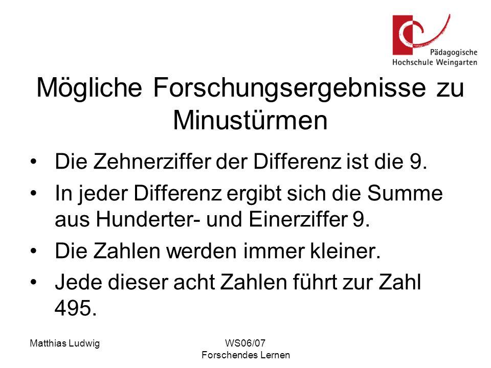 Matthias LudwigWS06/07 Forschendes Lernen Mögliche Forschungsergebnisse zu Minustürmen Die Zehnerziffer der Differenz ist die 9. In jeder Differenz er