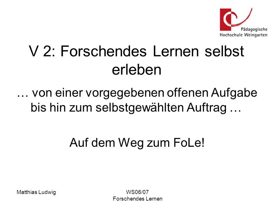 Matthias LudwigWS06/07 Forschendes Lernen Verschiedene Phasen der Forschungsarbeit 1.Forschungsskizze 2.Forschungsaufträge 3.Forschungsplan 4.Forschungsarbeit 5.Forschungsreflexion