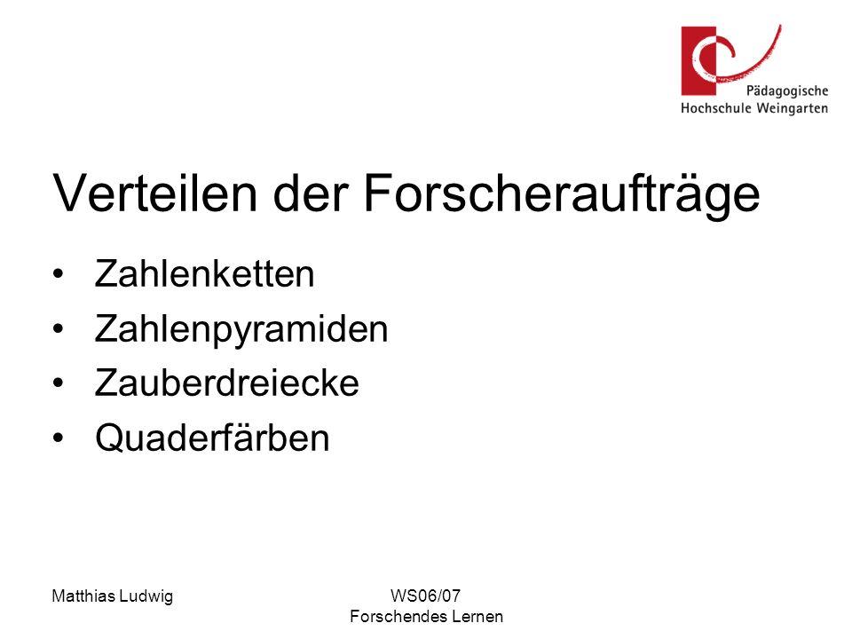 Matthias LudwigWS06/07 Forschendes Lernen Verteilen der Forscheraufträge Zahlenketten Zahlenpyramiden Zauberdreiecke Quaderfärben