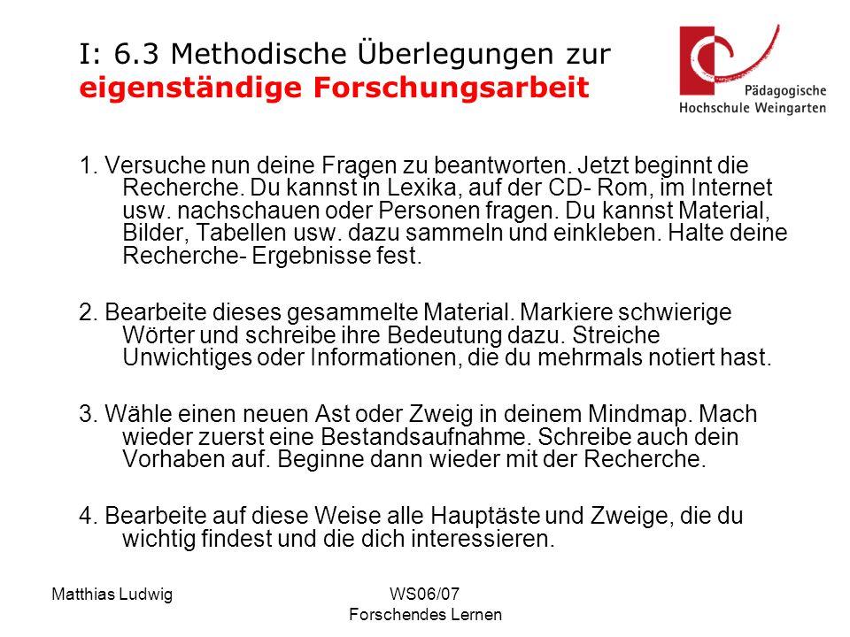 Matthias LudwigWS06/07 Forschendes Lernen 1. Versuche nun deine Fragen zu beantworten. Jetzt beginnt die Recherche. Du kannst in Lexika, auf der CD- R
