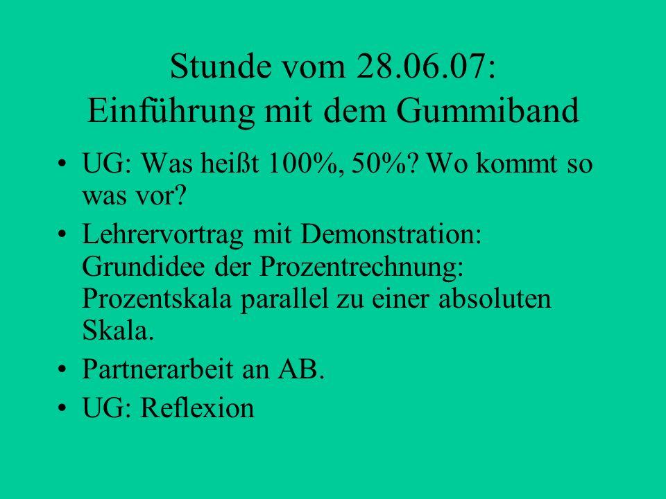 Stunde vom 28.06.07: Einführung mit dem Gummiband UG: Was heißt 100%, 50%? Wo kommt so was vor? Lehrervortrag mit Demonstration: Grundidee der Prozent