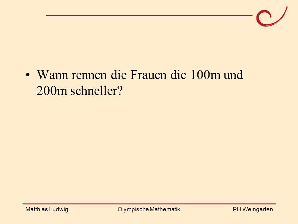 PH Weingarten Matthias LudwigOlympische Mathematik Wann rennen die Frauen die 100m und 200m schneller?