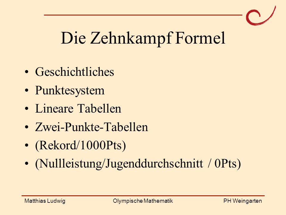 PH Weingarten Matthias LudwigOlympische Mathematik Die Zehnkampf Formel Geschichtliches Punktesystem Lineare Tabellen Zwei-Punkte-Tabellen (Rekord/100
