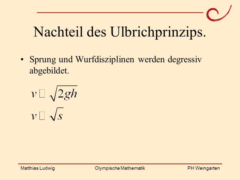 PH Weingarten Matthias LudwigOlympische Mathematik Nachteil des Ulbrichprinzips. Sprung und Wurfdisziplinen werden degressiv abgebildet.
