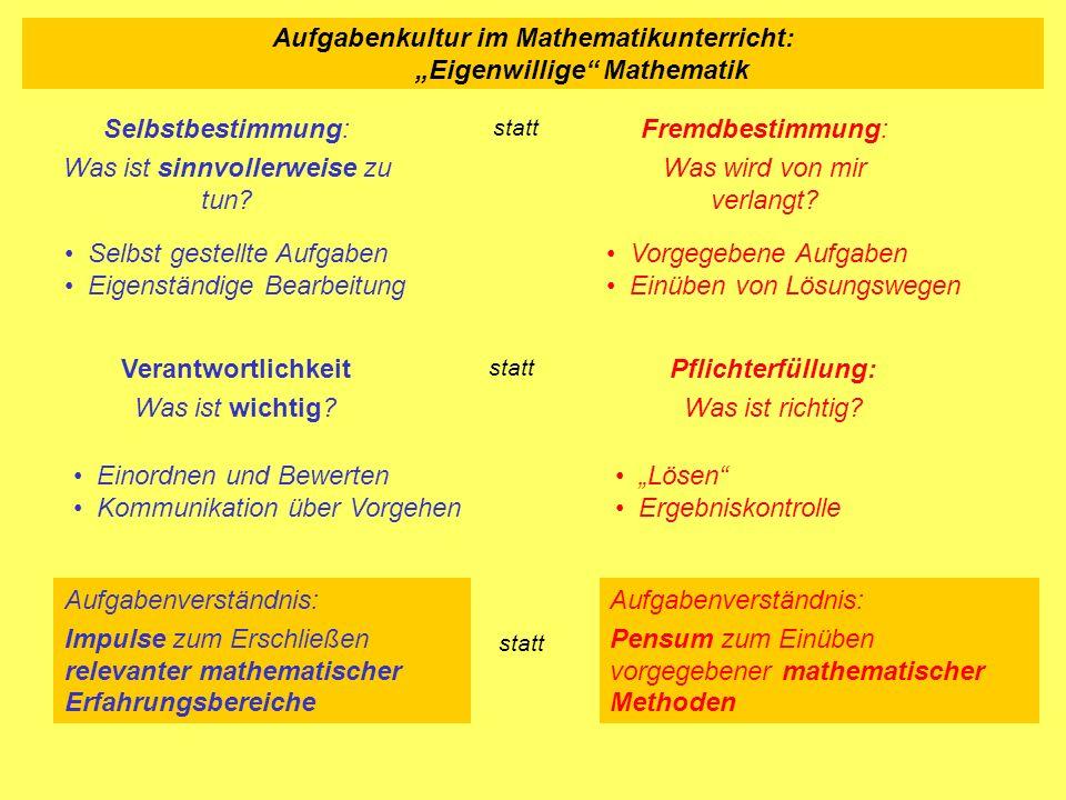 Aufgabenkultur im Mathematikunterricht: Eigenwillige Mathematik Lösen Ergebniskontrolle Einordnen und Bewerten Kommunikation über Vorgehen Selbstbesti