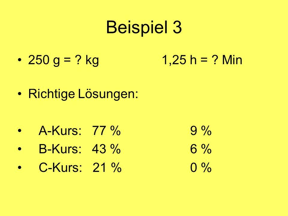 Beispiel 3 250 g = ? kg1,25 h = ? Min Richtige Lösungen: A-Kurs: 77 %9 % B-Kurs: 43 %6 % C-Kurs: 21 %0 %