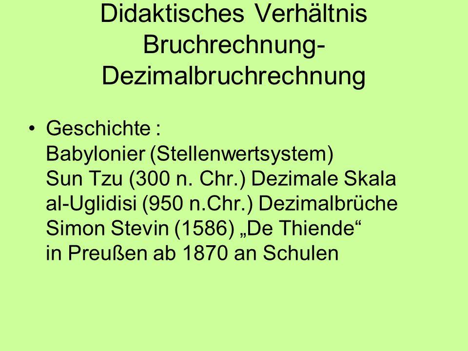 Didaktisches Verhältnis Bruchrechnung- Dezimalbruchrechnung Geschichte : Babylonier (Stellenwertsystem) Sun Tzu (300 n. Chr.) Dezimale Skala al-Uglidi