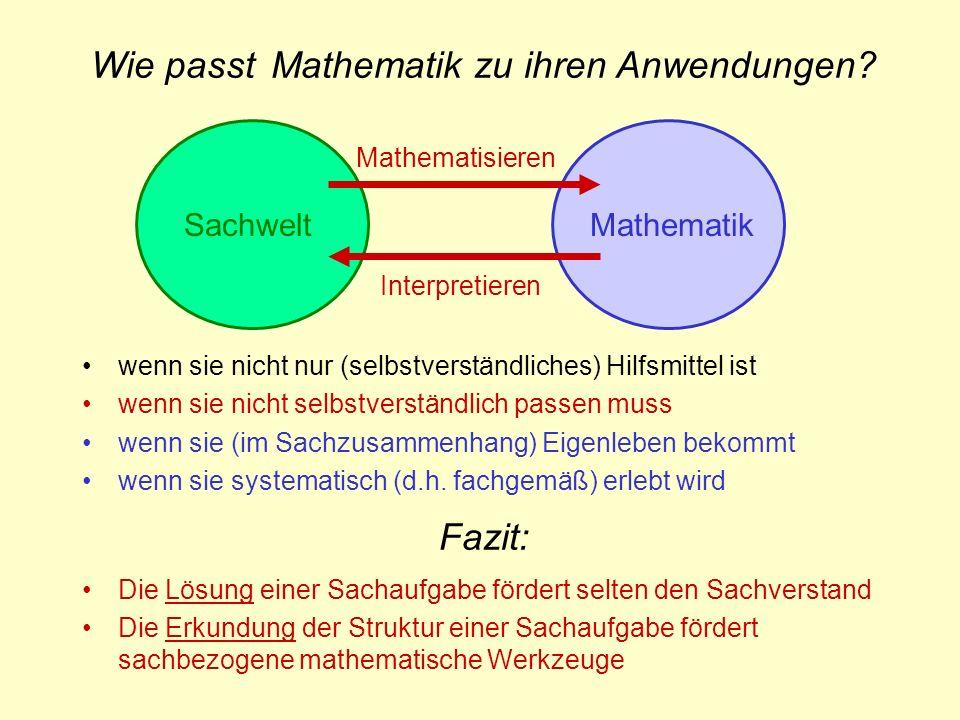 SachweltMathematik Interpretieren Mathematisieren Fazit: Die Lösung einer Sachaufgabe fördert selten den Sachverstand Die Erkundung der Struktur einer