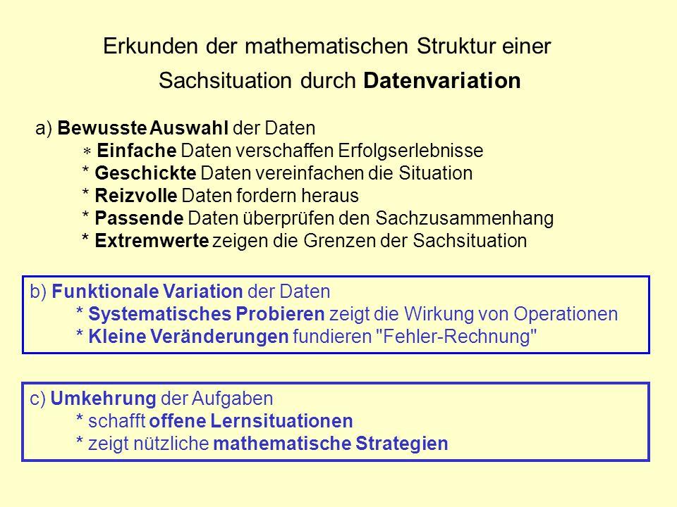 Erkunden der mathematischen Struktur einer Sachsituation durch Datenvariation c) Umkehrung der Aufgaben * schafft offene Lernsituationen * zeigt nützl