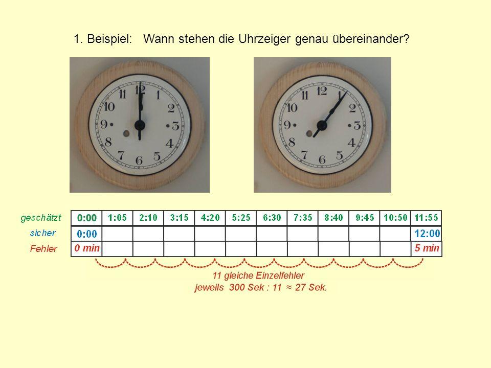 1. Beispiel: Wann stehen die Uhrzeiger genau übereinander?