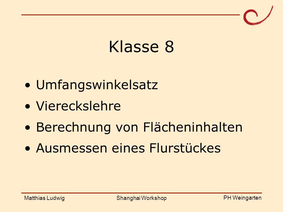 PH Weingarten Matthias LudwigShanghai Workshop Klasse 8 Umfangswinkelsatz Viereckslehre Berechnung von Flächeninhalten Ausmessen eines Flurstückes