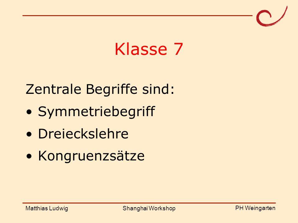 PH Weingarten Matthias LudwigShanghai Workshop Klasse 7 Zentrale Begriffe sind: Symmetriebegriff Dreieckslehre Kongruenzsätze