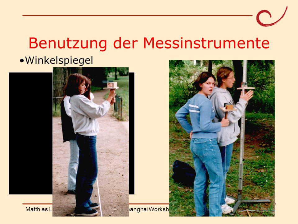 PH Weingarten Matthias LudwigShanghai Workshop Benutzung der Messinstrumente Winkelspiegel