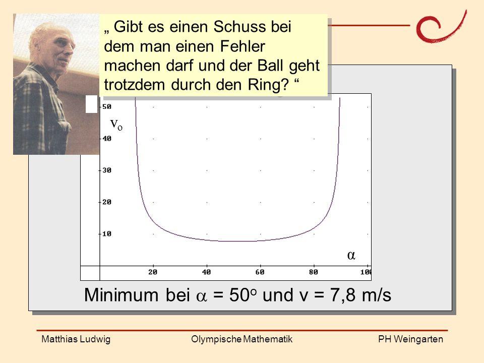 PH Weingarten Matthias LudwigOlympische Mathematik Shot angle velocity x = 4,60, y = 3,05 v o =...