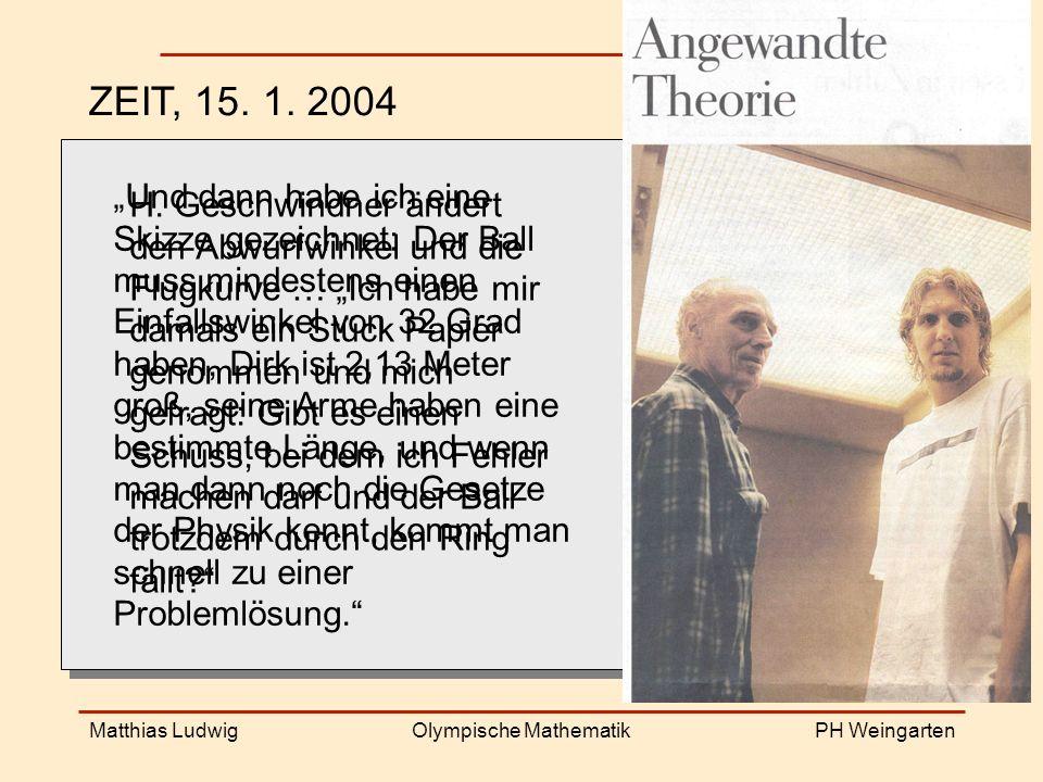PH Weingarten Matthias LudwigOlympische Mathematik ZEIT, 15.