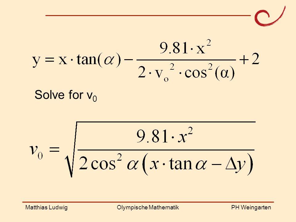 PH Weingarten Matthias LudwigOlympische Mathematik Solve for v 0