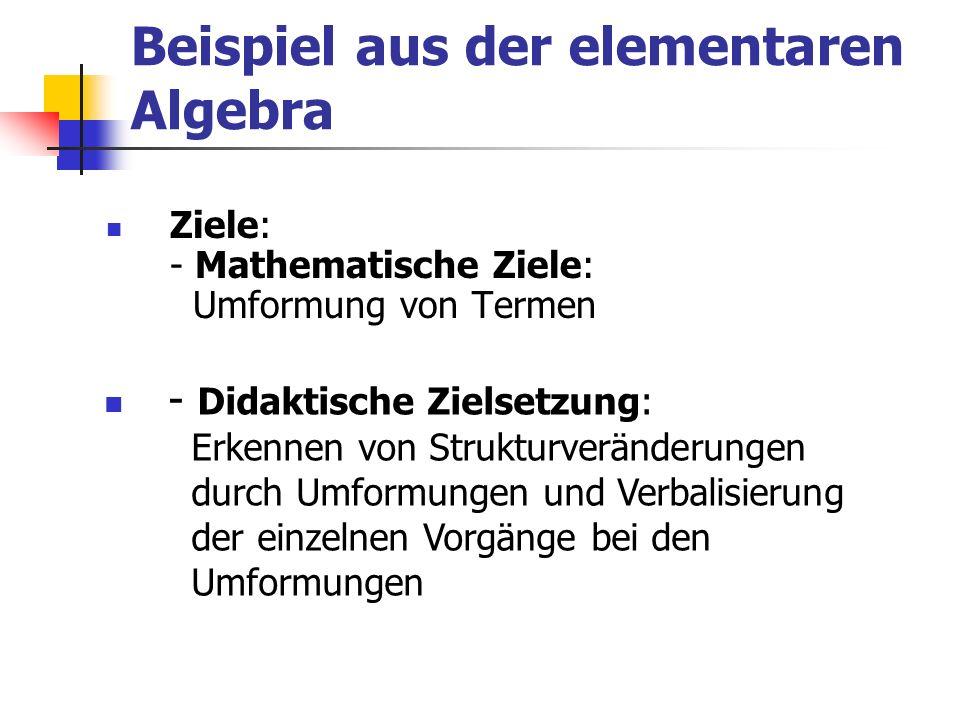 Beispiel aus der elementaren Algebra Ziele: - Mathematische Ziele: Umformung von Termen - Didaktische Zielsetzung: Erkennen von Strukturveränderungen