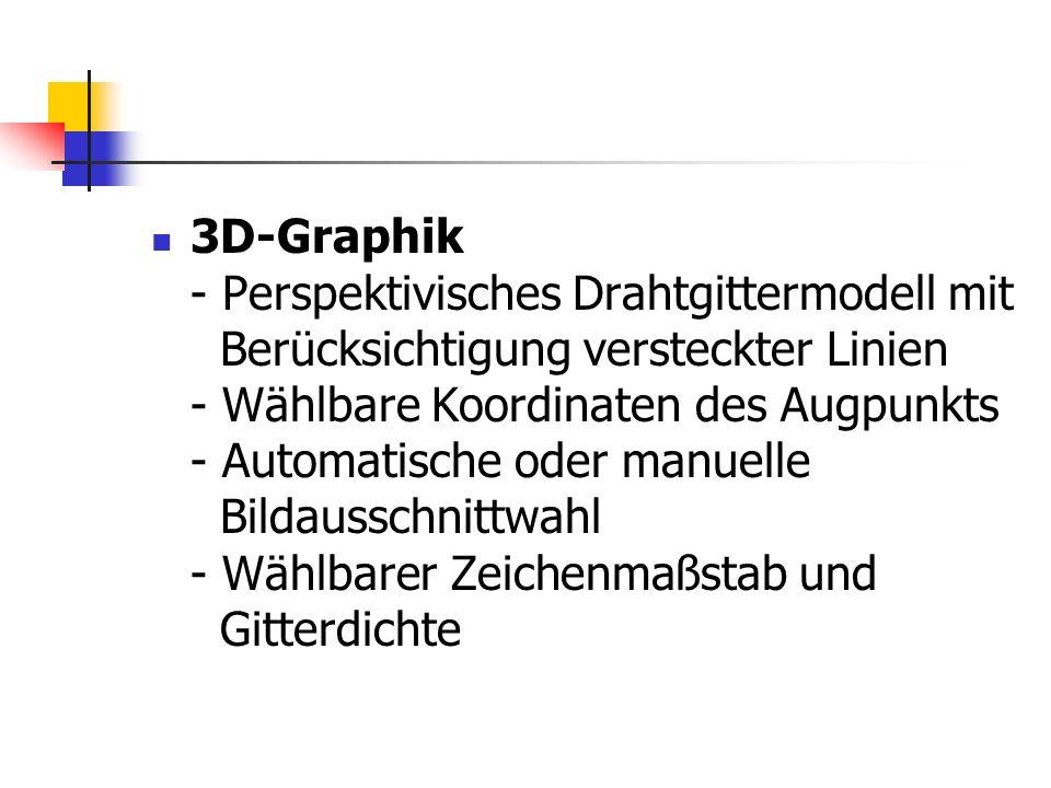 3D-Graphik - Perspektivisches Drahtgittermodell mit Berücksichtigung versteckter Linien - Wählbare Koordinaten des Augpunkts - Automatische oder manue