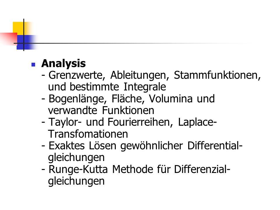 Analysis - Grenzwerte, Ableitungen, Stammfunktionen, und bestimmte Integrale - Bogenlänge, Fläche, Volumina und verwandte Funktionen - Taylor- und Fou