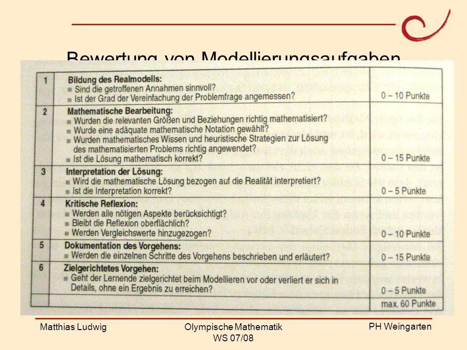 PH Weingarten Matthias LudwigOlympische Mathematik WS 07/08 Bewertung von Modellierungsaufgaben