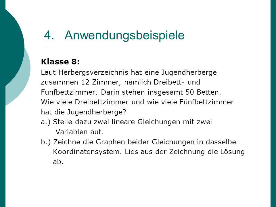 4. Anwendungsbeispiele Klasse 8: Laut Herbergsverzeichnis hat eine Jugendherberge zusammen 12 Zimmer, nämlich Dreibett- und Fünfbettzimmer. Darin steh
