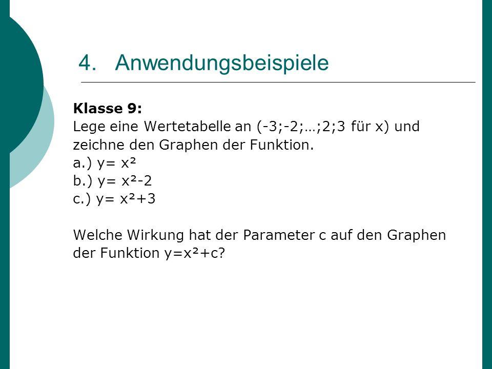 4. Anwendungsbeispiele Klasse 9: Lege eine Wertetabelle an (-3;-2;…;2;3 für x) und zeichne den Graphen der Funktion. a.) y= x² b.) y= x²-2 c.) y= x²+3