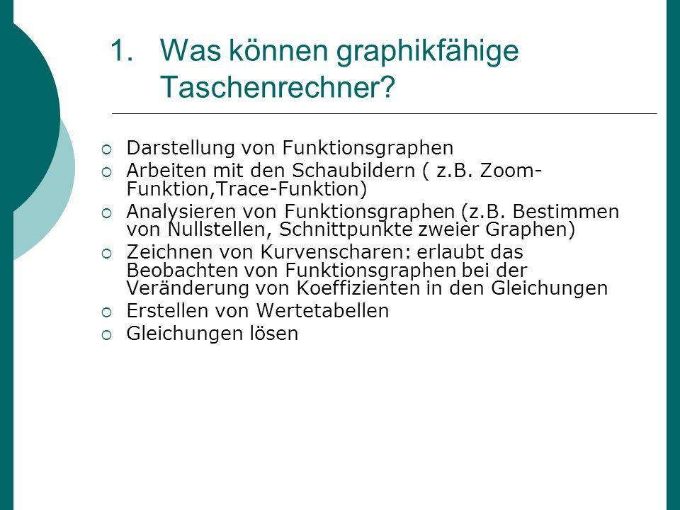 1.Was können graphikfähige Taschenrechner? Darstellung von Funktionsgraphen Arbeiten mit den Schaubildern ( z.B. Zoom- Funktion,Trace-Funktion) Analys