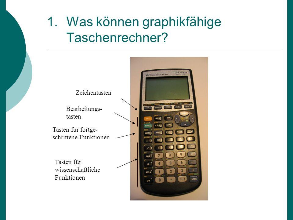 1.Was können graphikfähige Taschenrechner? Zeichentasten Bearbeitungs- tasten Tasten für fortge- schrittene Funktionen Tasten für wissenschaftliche Fu