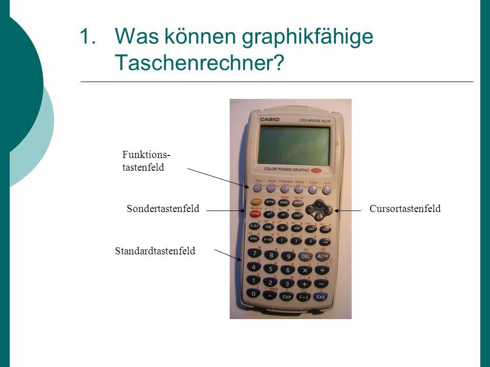 1. Was können graphikfähige Taschenrechner? Funktions- tastenfeld SondertastenfeldCursortastenfeld Standardtastenfeld
