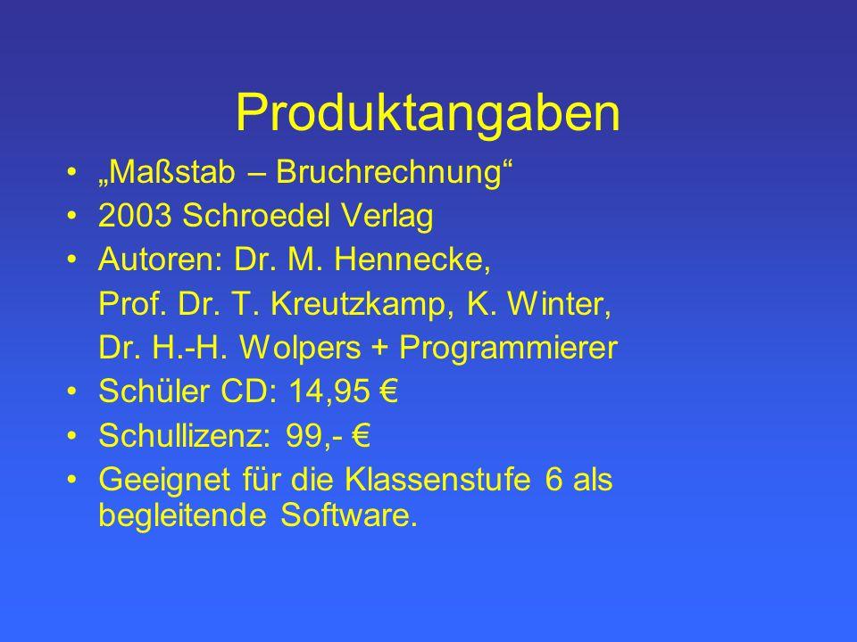 Produktangaben Maßstab – Bruchrechnung 2003 Schroedel Verlag Autoren: Dr.