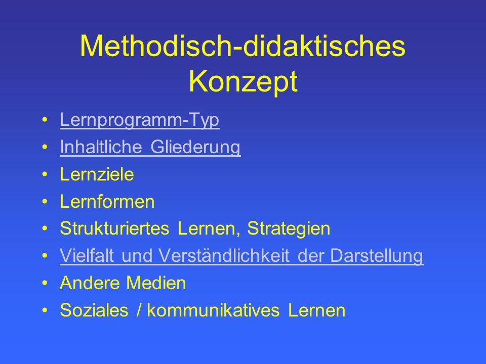 Methodisch-didaktisches Konzept Lernprogramm-Typ Inhaltliche Gliederung Lernziele Lernformen Strukturiertes Lernen, Strategien Vielfalt und Verständlichkeit der Darstellung Andere Medien Soziales / kommunikatives Lernen