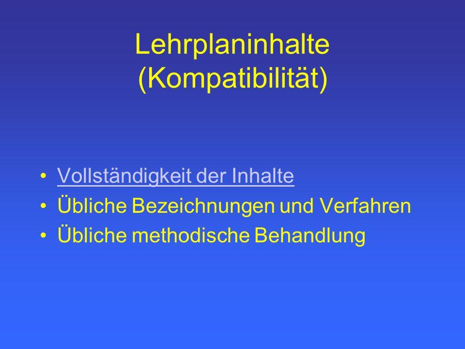 Lehrplaninhalte (Kompatibilität) Vollständigkeit der Inhalte Übliche Bezeichnungen und Verfahren Übliche methodische Behandlung
