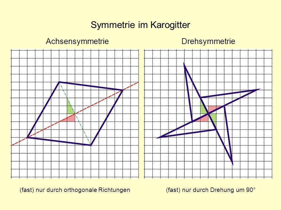 Symmetrie im Karogitter (fast) nur durch Drehung um 90° DrehsymmetrieAchsensymmetrie (fast) nur durch orthogonale Richtungen