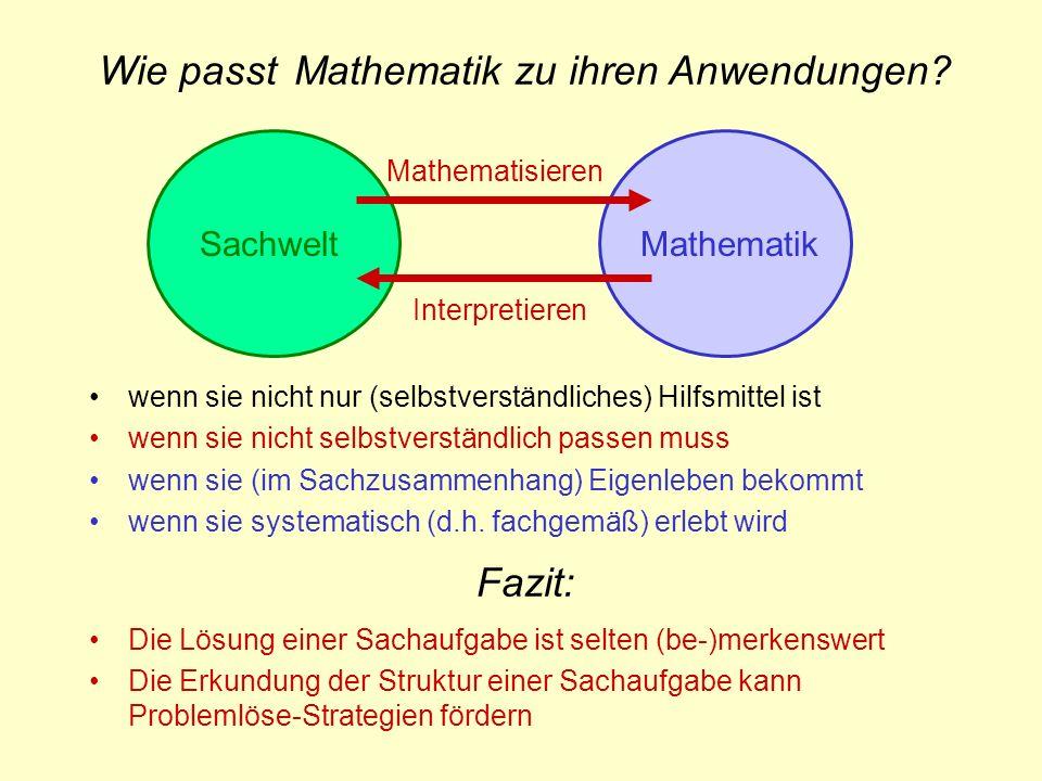 SachweltMathematik Interpretieren Mathematisieren Fazit: Die Lösung einer Sachaufgabe ist selten (be-)merkenswert Die Erkundung der Struktur einer Sac
