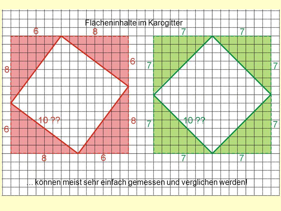 Flächeninhalte im Karogitter... können meist sehr einfach gemessen und verglichen werden!