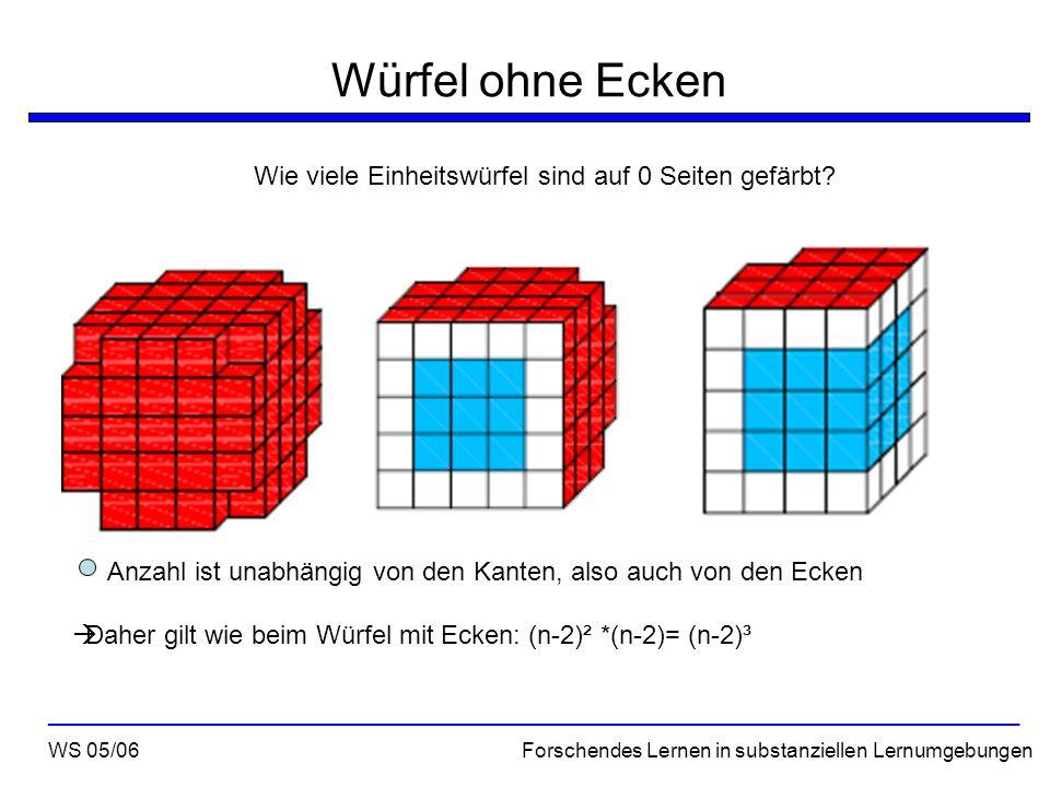 Würfel ohne Ecken Wie viele Einheitswürfel sind auf 0 Seiten gefärbt? WS 05/06 Forschendes Lernen in substanziellen Lernumgebungen ___________________