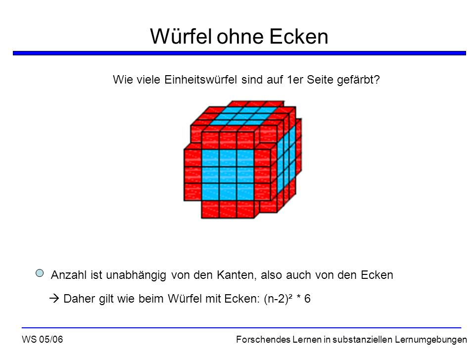 Würfel ohne Ecken Wie viele Einheitswürfel sind auf 1er Seite gefärbt? WS 05/06 Forschendes Lernen in substanziellen Lernumgebungen __________________