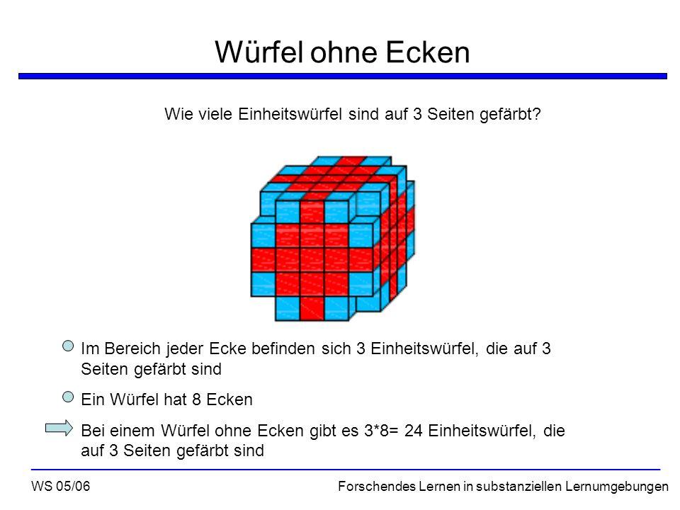 Würfel ohne Ecken Zusammenfassung WS 05/06 Forschendes Lernen in substanziellen Lernumgebungen ___________________________________________________________________ Die Anzahl der auf 0 und 1er Seite gefärbten Einheitswürfel ist beim Würfel ohne Ecken die selbe wie bei einem Würfel mit Ecken Für die Anzahl der Einheitswürfel, die auf 2 Seiten gefärbt sind, gilt die Formel (n-4)*24 Es gibt 24 Einheitswürfel, die auf 3 Seiten gefärbt sind