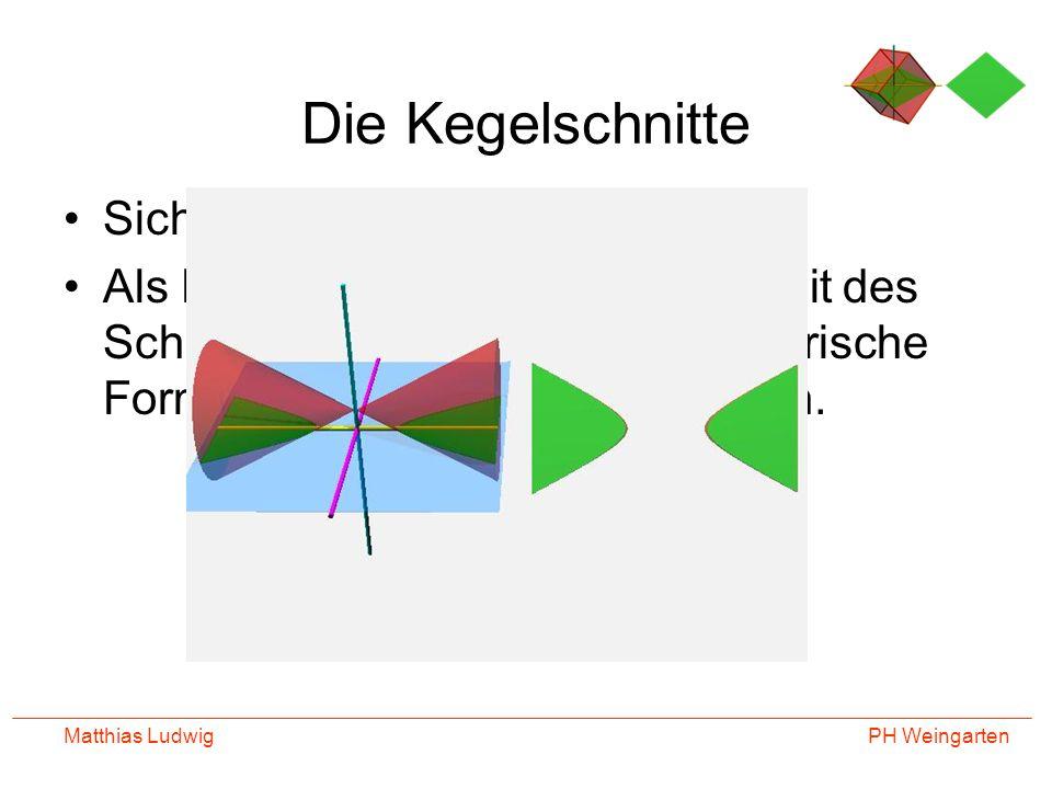 PH Weingarten Matthias Ludwig Die Kegelschnitte Sicher das berühmteste Beispiel Als Funktionswerte in Abhängigkeit des Schnittwinkels erhält man geoem