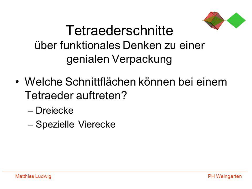 PH Weingarten Matthias Ludwig Tetraederschnitte über funktionales Denken zu einer genialen Verpackung Welche Schnittflächen können bei einem Tetraeder