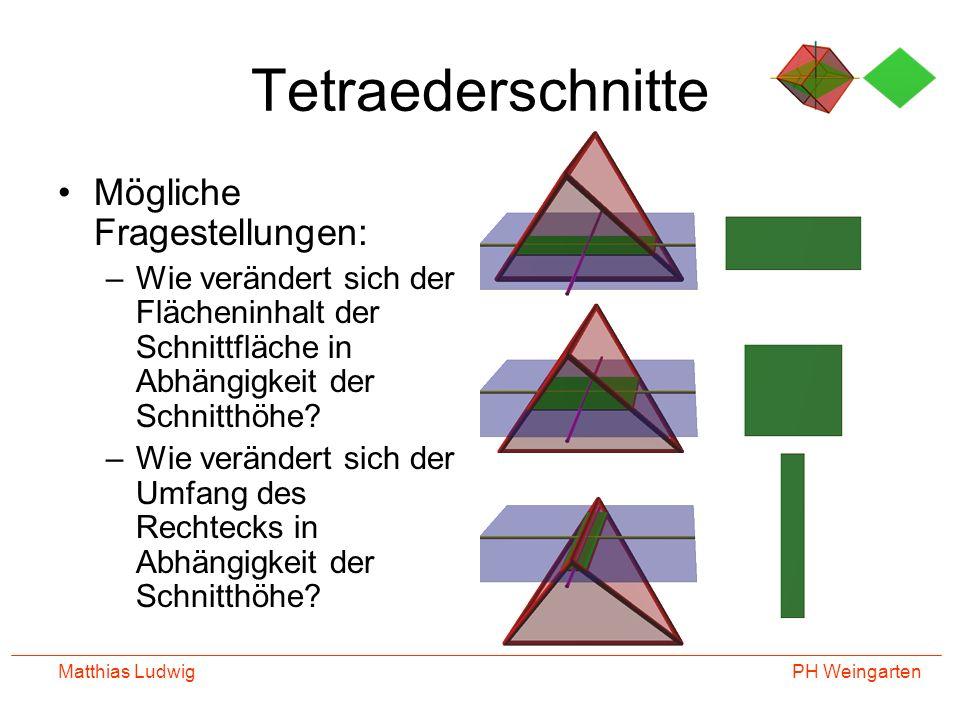 PH Weingarten Matthias Ludwig Tetraederschnitte Mögliche Fragestellungen: –Wie verändert sich der Flächeninhalt der Schnittfläche in Abhängigkeit der