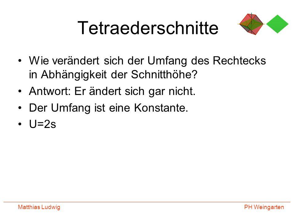 PH Weingarten Matthias Ludwig Tetraederschnitte Wie verändert sich der Umfang des Rechtecks in Abhängigkeit der Schnitthöhe? Antwort: Er ändert sich g