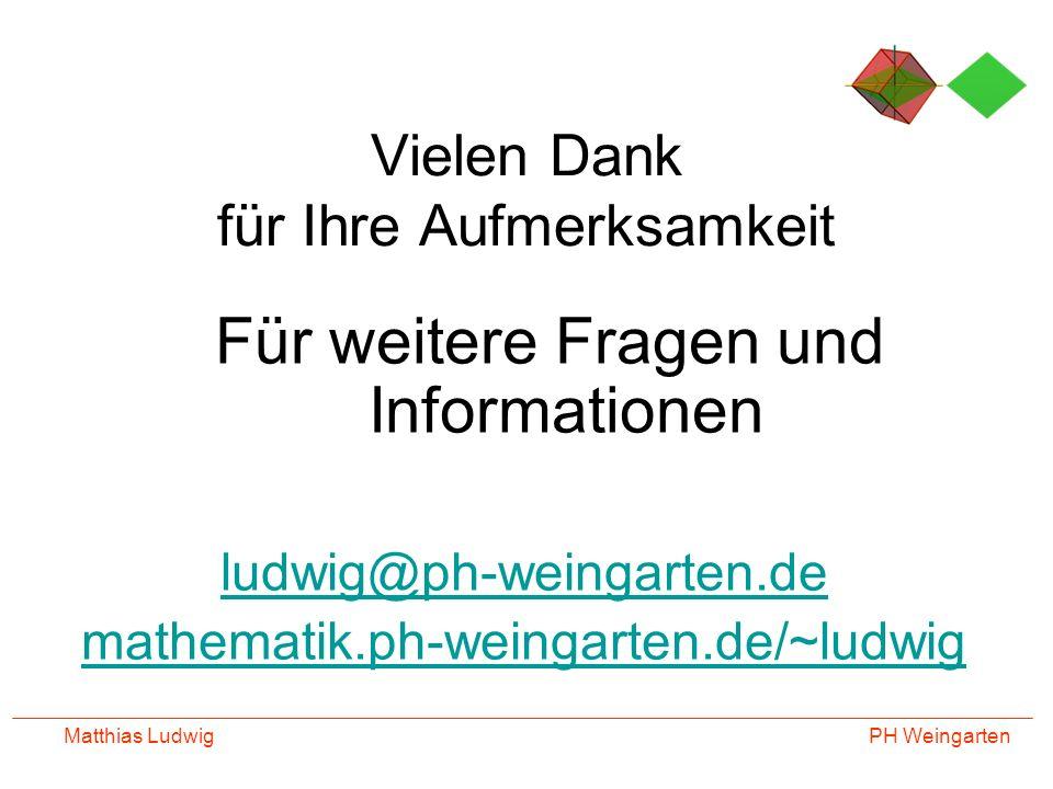 PH Weingarten Matthias Ludwig Vielen Dank für Ihre Aufmerksamkeit Für weitere Fragen und Informationen ludwig@ph-weingarten.de mathematik.ph-weingarte