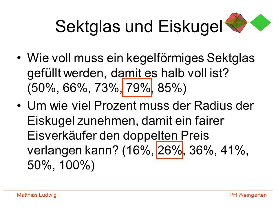 PH Weingarten Matthias Ludwig Sektglas und Eiskugel Wie voll muss ein kegelförmiges Sektglas gefüllt werden, damit es halb voll ist? (50%, 66%, 73%, 7