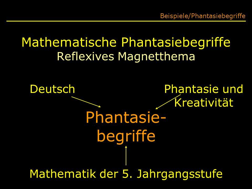 Mathematische Phantasiebegriffe Reflexives Magnetthema Beispiele/Phantasiebegriffe Phantasie- begriffe Deutsch Mathematik der 5. Jahrgangsstufe Phanta