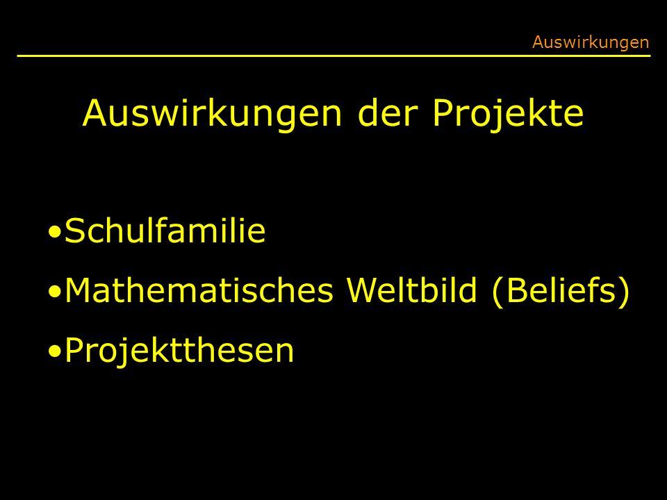 Auswirkungen der Projekte Auswirkungen Schulfamilie Mathematisches Weltbild (Beliefs) Projektthesen