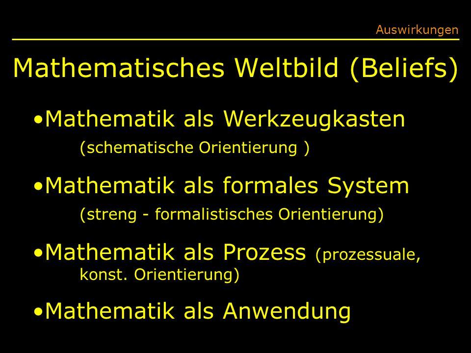 Mathematisches Weltbild (Beliefs) Auswirkungen Mathematik als Werkzeugkasten (schematische Orientierung ) Mathematik als formales System (streng - formalistisches Orientierung) Mathematik als Prozess (prozessuale, konst.