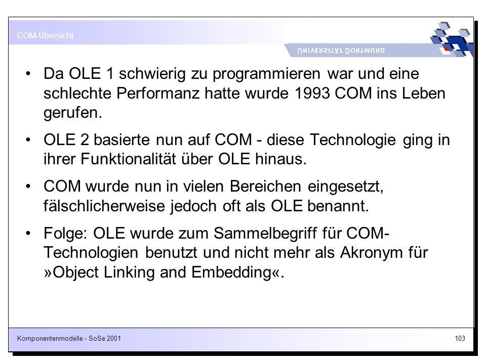 Komponentenmodelle - SoSe 2001103 Da OLE 1 schwierig zu programmieren war und eine schlechte Performanz hatte wurde 1993 COM ins Leben gerufen. OLE 2