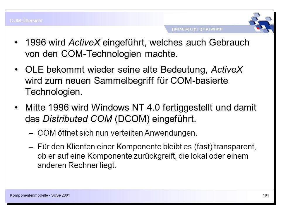 Komponentenmodelle - SoSe 2001104 1996 wird ActiveX eingeführt, welches auch Gebrauch von den COM-Technologien machte. OLE bekommt wieder seine alte B
